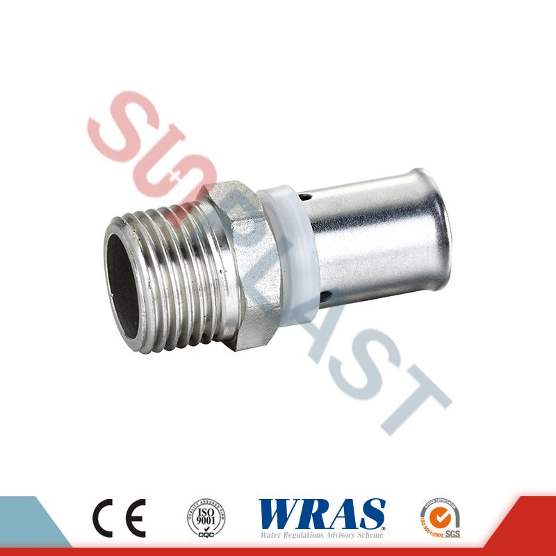 Brass Press Male Coupling For PEX-AL-PEX Multilayer Pipe